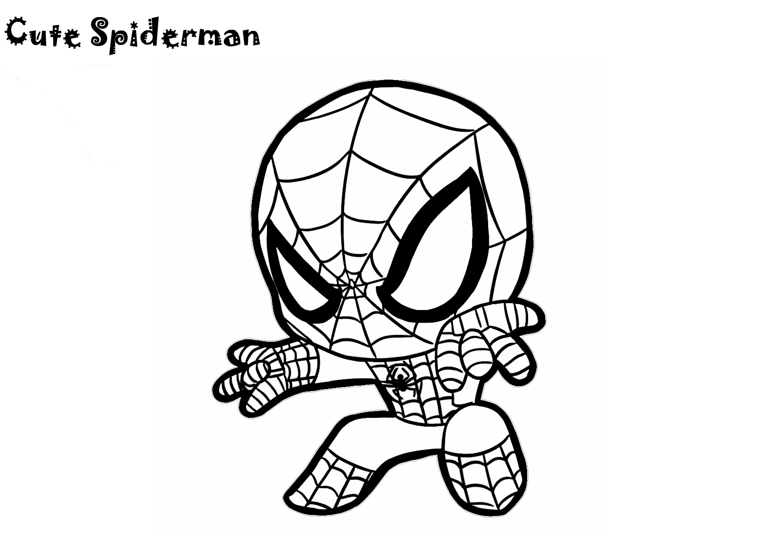 Cute Little Spiderman Coloring Pages Chibi Cartoon Sheets For Kids