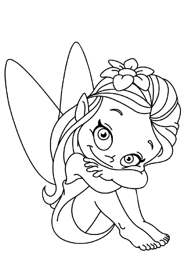 Darling Eyes Cute Little Fairy Coloring Pages
