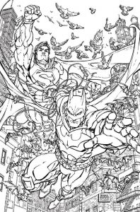 Detailed Difficult Superman and Batman Printable Coloring Pages for Adults