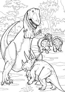 Dino Fight Triceratops Defending Family vs Trex Dinosaur Coloring Pages