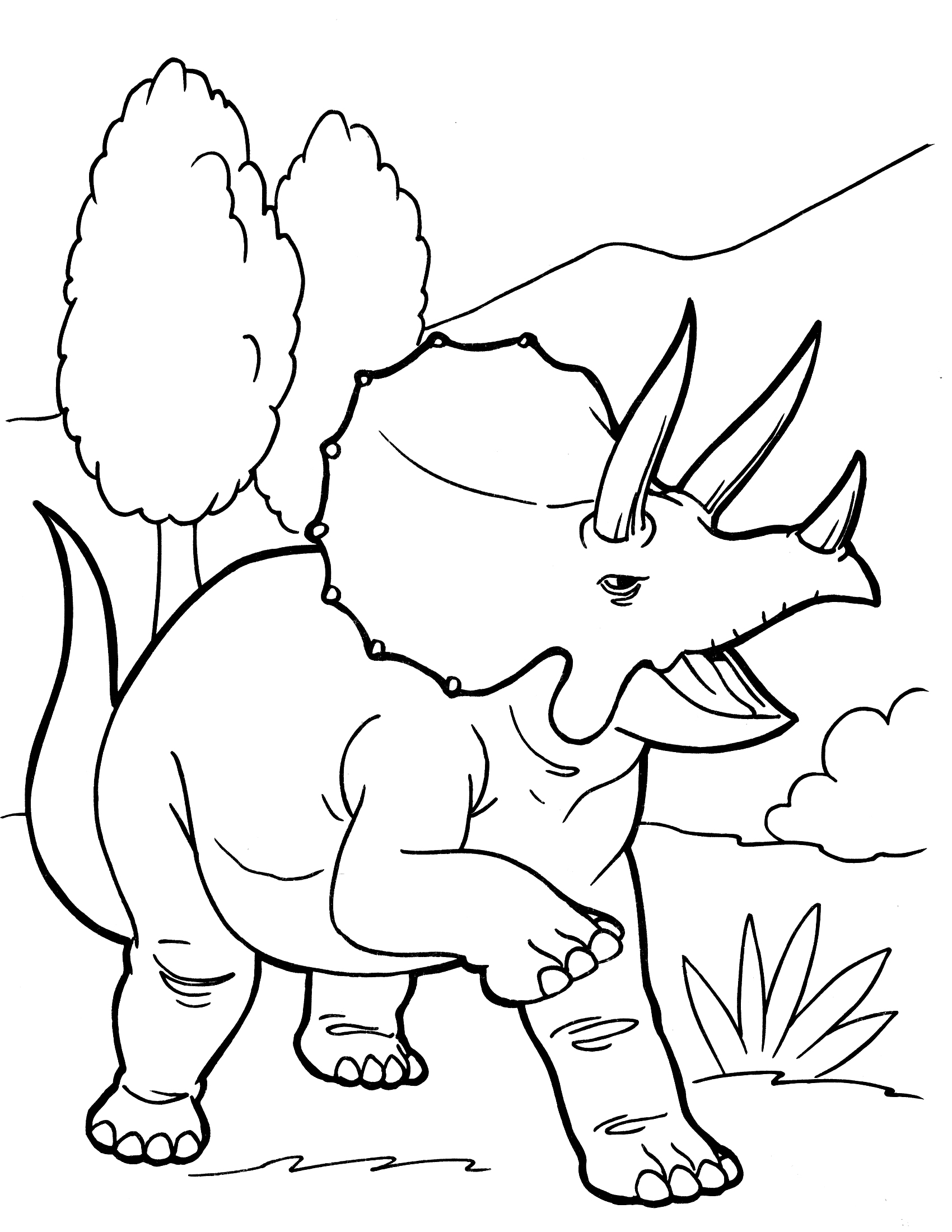 Disney Dinosaur Coloring Page Triceratops Running in Forest