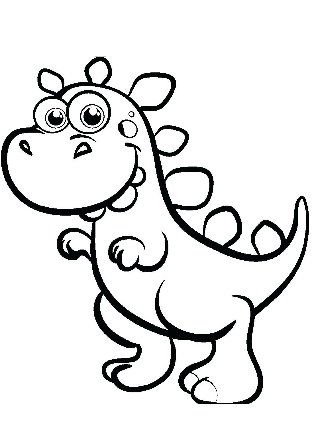 Easy Cartoon Dinosaur Coloring Pages