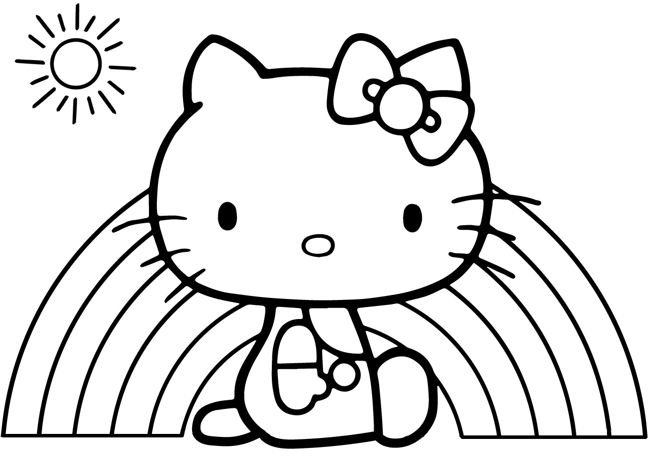 Easy Draw and Color Rainbow Hello Kitty Coloring Pages