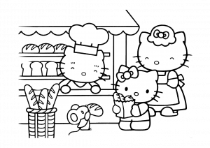 Easy Hello Kitty Coloring Pages for Preschool Hello Kitty at Bakery
