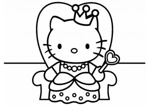 Free Printable Hello Kitty Princess Coloring Pages Hello Kitty Throne with Crown and Heart Wand