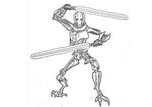 General Grievous Star Wars Coloring Pages Military Strategist Commanding Officer Droid Army