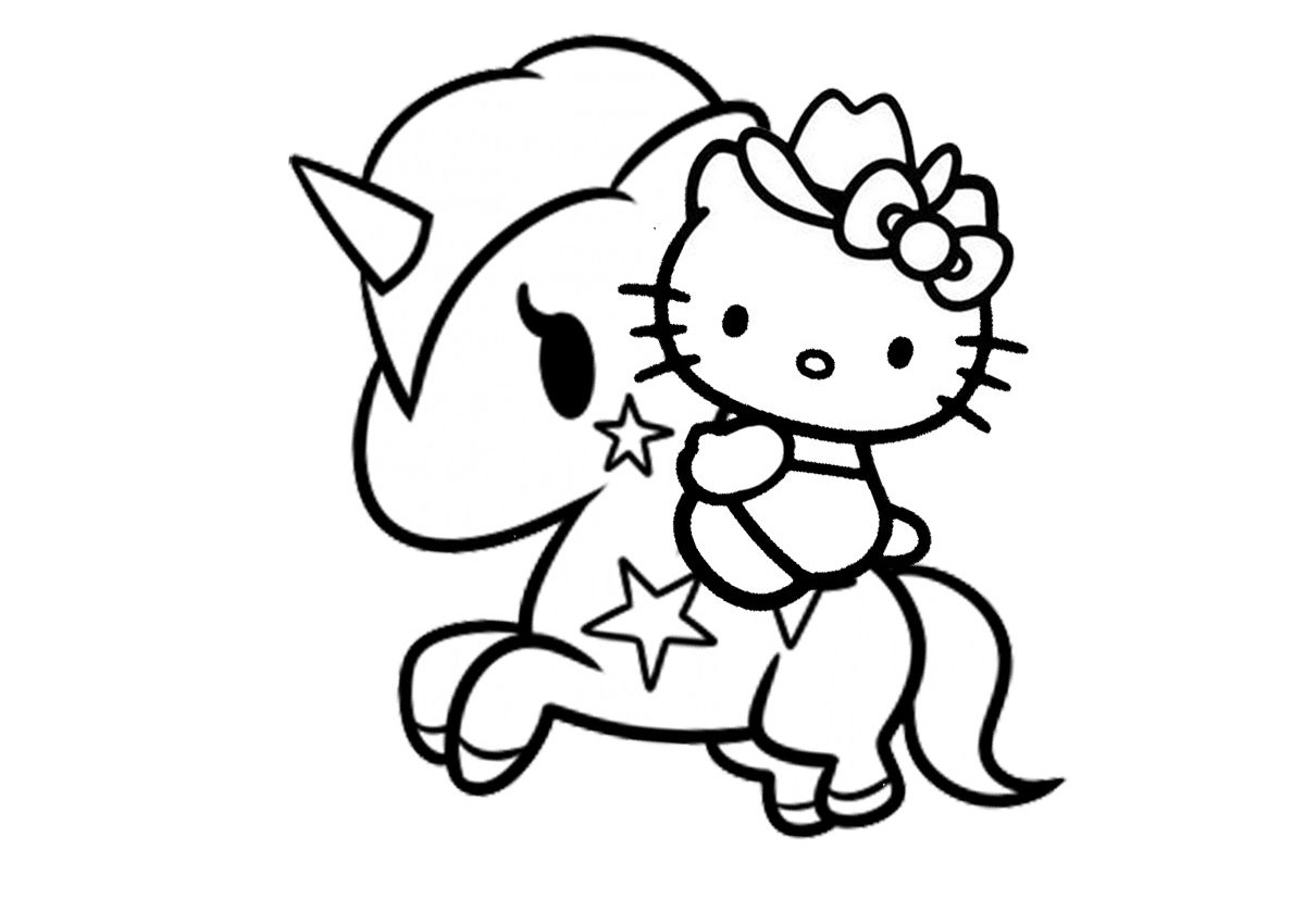 Having Fun Riding Unicorn Hello Kitty Coloring Pages - Print Color Craft