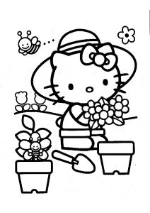 Hello Kitty Gardener Coloring Pages