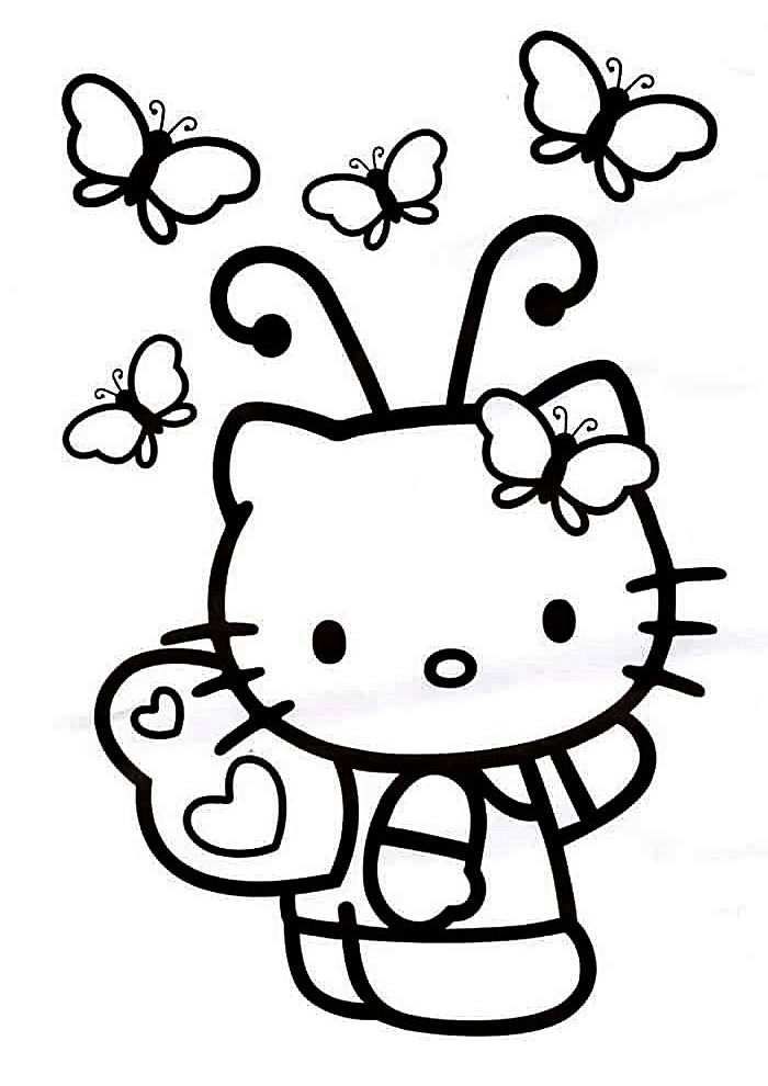 Hello Kitty with Butterflies Coloring Pages