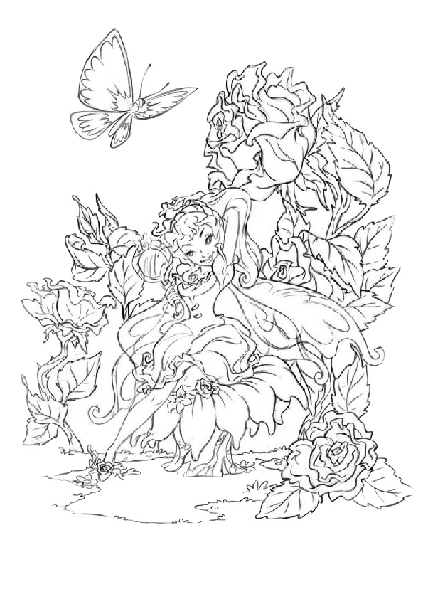 Leisure Time at Her Garden with Butterflies Young Fairy Coloring Pages Adult Mandala