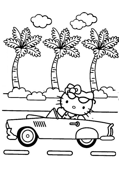Long Drive Summer Vacation Hello Kitty Coloring Pages