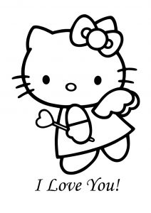 Love Valentine Hearts and Wand Hello Kitty Coloring Pages