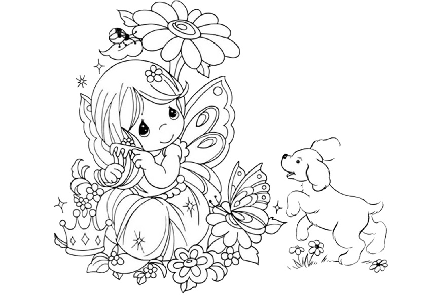 Lovely Little Baby Fairy with a Dog and Butterfly Coloring Pages