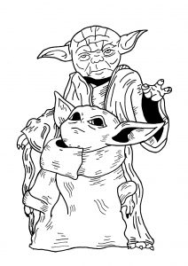 Master Yoda and Baby Yoda Star Wars Coloring Pages Small Yet Powerful Jedi Trainer of Jedi Order