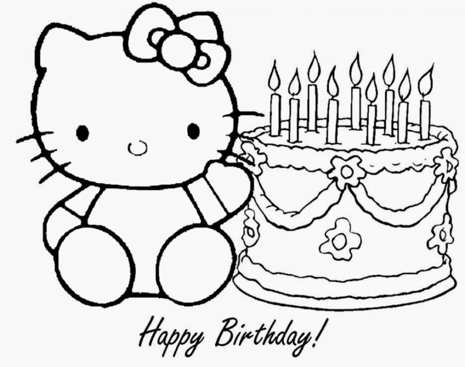 Memorable Birthday with Blow Candles and Cake Hello Kitty Coloring Pages