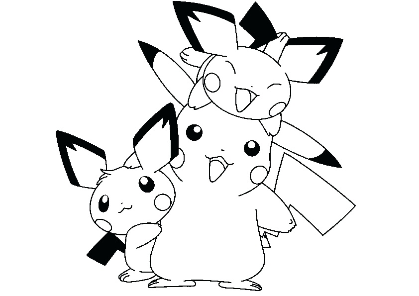 Pikachu with baby Pikachu Coloring Page Printale sheets