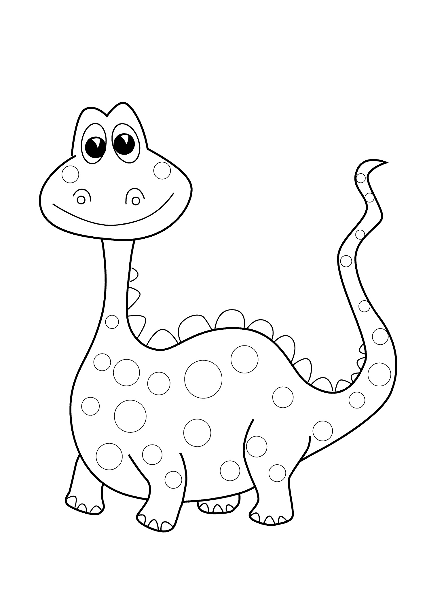 Preschool Dinosaur Coloring Page Easy to Color for Kids