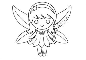 Preschool Easy to Color Cute Fairy Coloring Pages