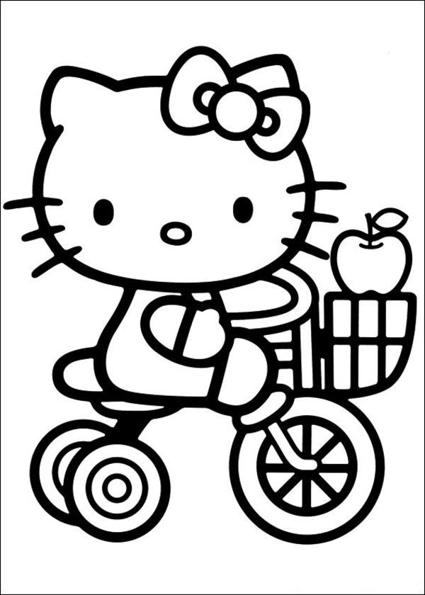 Preschool Toddler Hello Kitty Coloring Pages Kitty Riding Bicycle with Apple