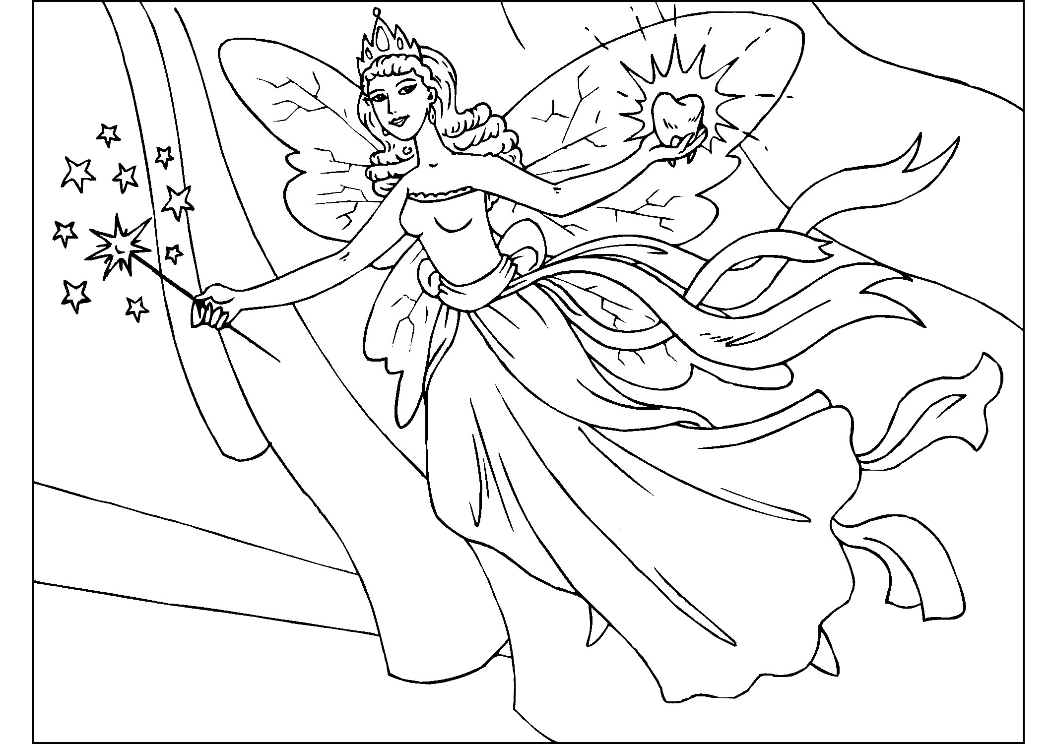 Printable Beautiful Fairy Coloring Pages