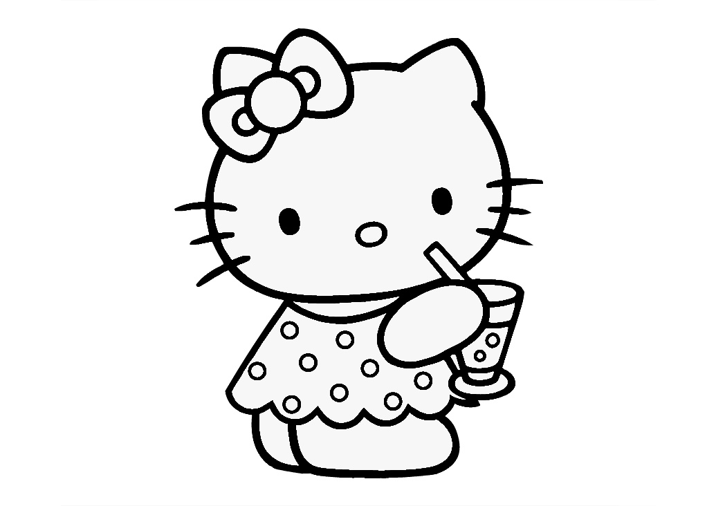Printable Hello Kitty Coloring Pages Hello Kitty with Refreshment Drink for Summer