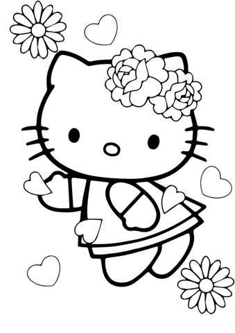 Printable Hello Kitty Coloring Pages with Flowers Hearts Love Valentine