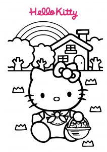 Rainbow House Hello Kitty Coloring Pages