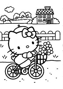Relaxed Summer Holidays Riding Bicycle Hello Kitty Coloring Pages