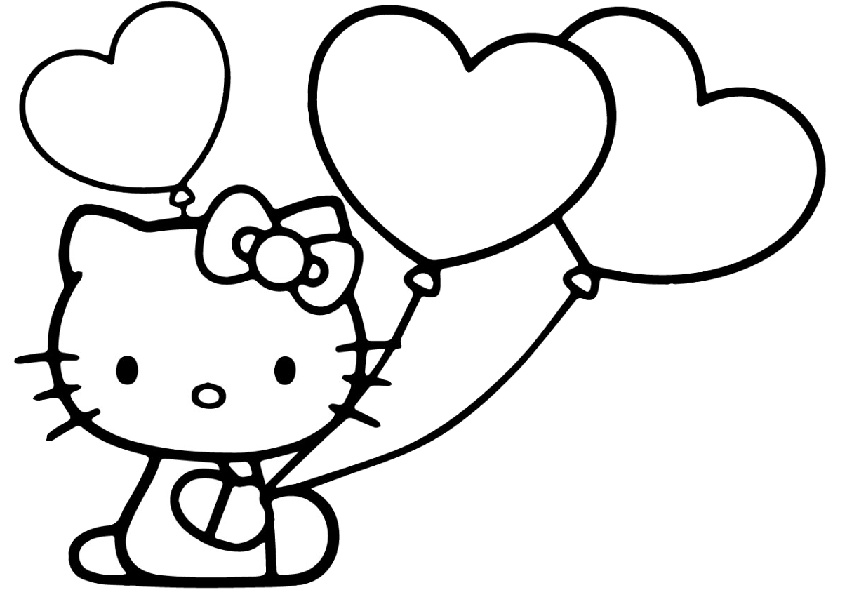 Simple Easy Draw Color Hello Kitty with Balloons Coloring Pages