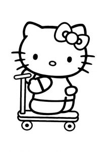 Skating Cute Hello Kitty Coloring Pages Skate Scooter Hello Kitty
