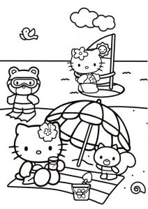 Summer Time Sunny Day at Beach Hello Kitty Coloring Pages