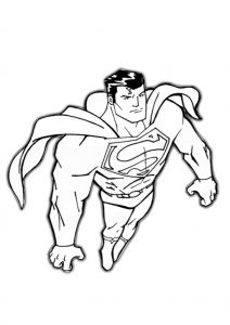 Superman Up in the sky Printable Coloring Pages