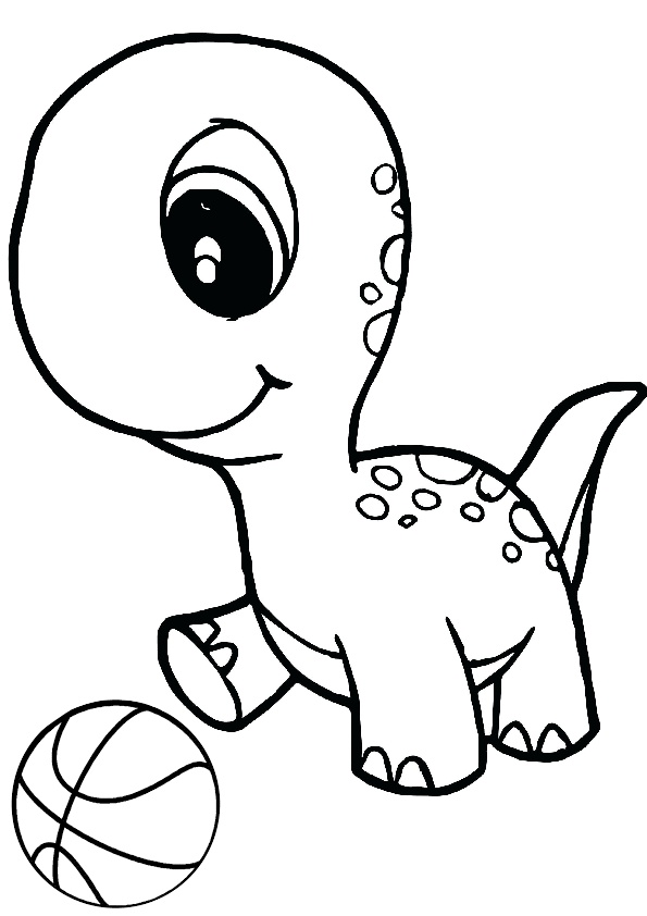 Tiny little dinosaur playing with a ball Dinosaur Coloring Pages