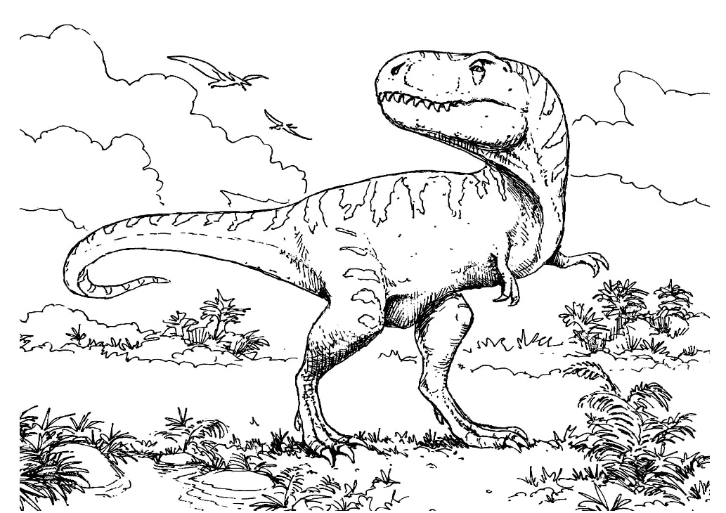 Trex Dinosaur Coloring Page Hard to Color and Difficult Coloring