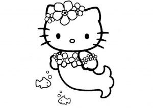 Underwater Mermaid Hello Kitty Coloring Pages Mermaid with Cute Fish
