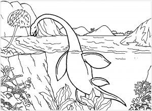 Water Living Dinosaur Coloring Pages Looks Like He is Exhausted Poor Dinosaur