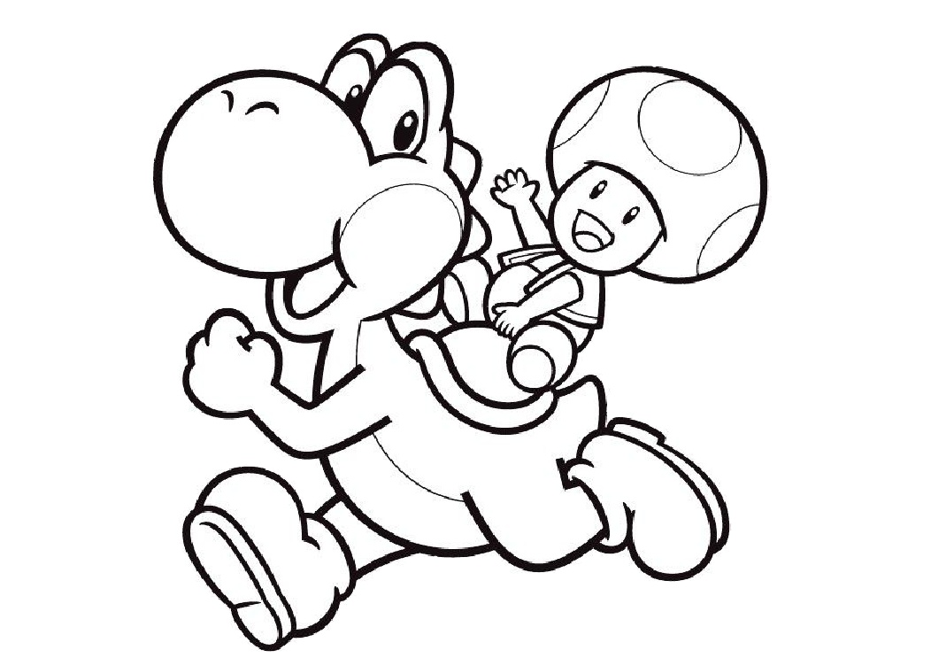 Yoshi Coloring Pages for Kids Yoshi with Mushroom