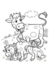 Baby Cow Calf with Her Mommy Cow Coloring Pages