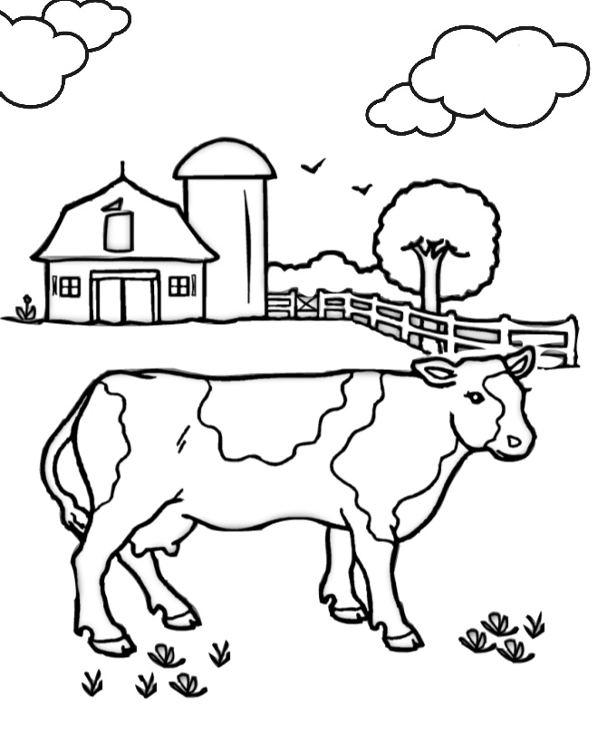 Barnyard Farm Animals Cow Coloring Pages