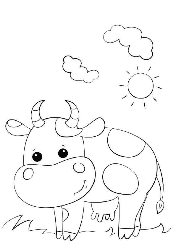Cow Grazing Grass on a Sunny Day Coloring Page for Toddlers