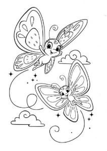 Creative Flying Over the Clouds Smiling Butterflies Coloring Pages