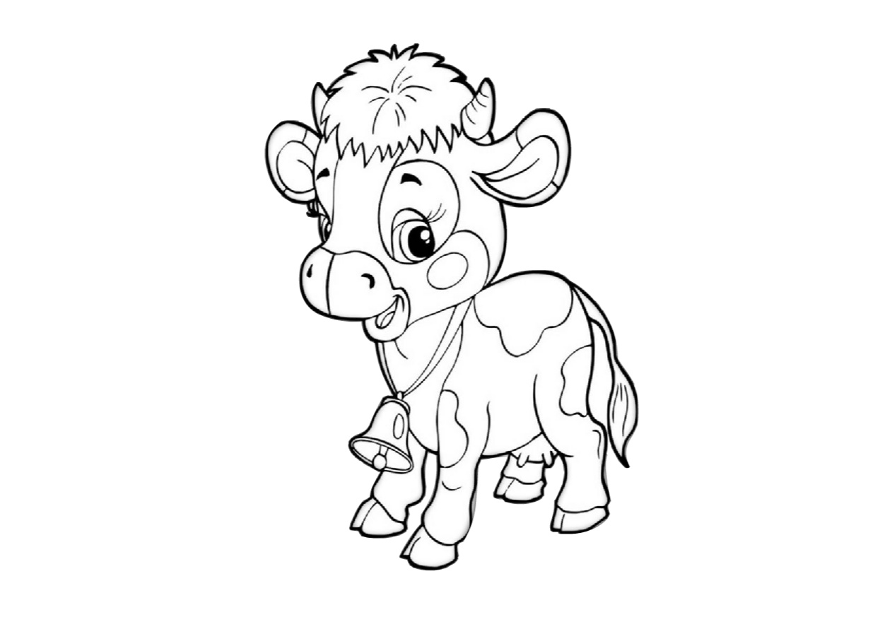 Cute Little Baby Cow Coloring Pages