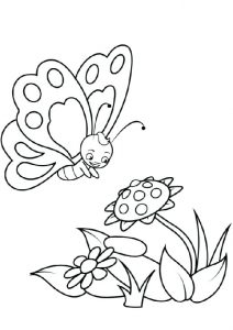 Cute Looking Butterfly Lingering Over Flowers Coloring Pages