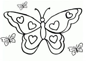 Easy Drawing Butterfly with Heart Mark on Wings Printable Coloring Pages