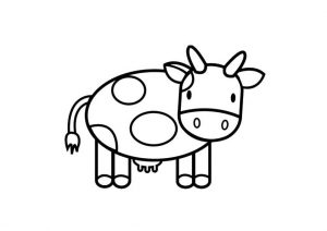 Easy print and Color Cow Preschool Coloring Page