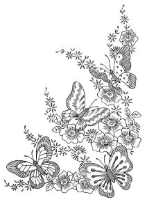 Embroidery Like Butterfly Coloring Pages