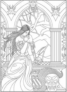 Fantasy Adult Vampire Coloring Page