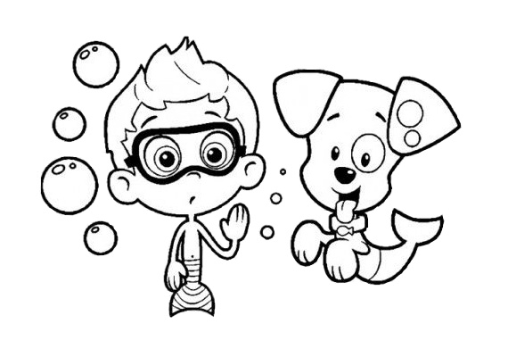 Free Printable Bubble Guppies Coloring Pages Nony with Bubble Puppy