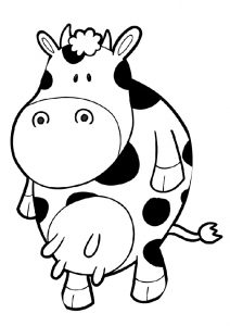 Funny Cow Cartoon Coloring Pages for Kids