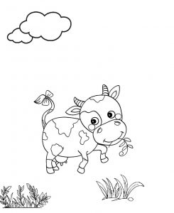 Funny Little Cartoon Cow Coloring Page